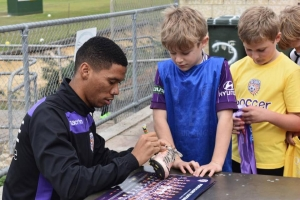 Autograph signing with Perth Glory player Jamal Reiners