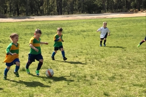 Collie Junior Soccer Team tackling for the ball
