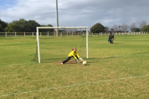 Keeping guard of the goal - Hay Park United Soccer Club