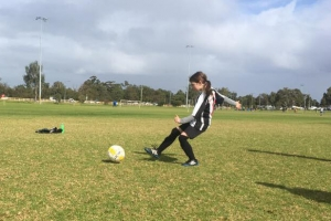 Kicking practise in the soccer ground - Hay Park United Soccer Club