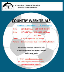 NEW COUNTRY WEEK TRIALS 2018 Flyer