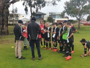 U15 preparing for game